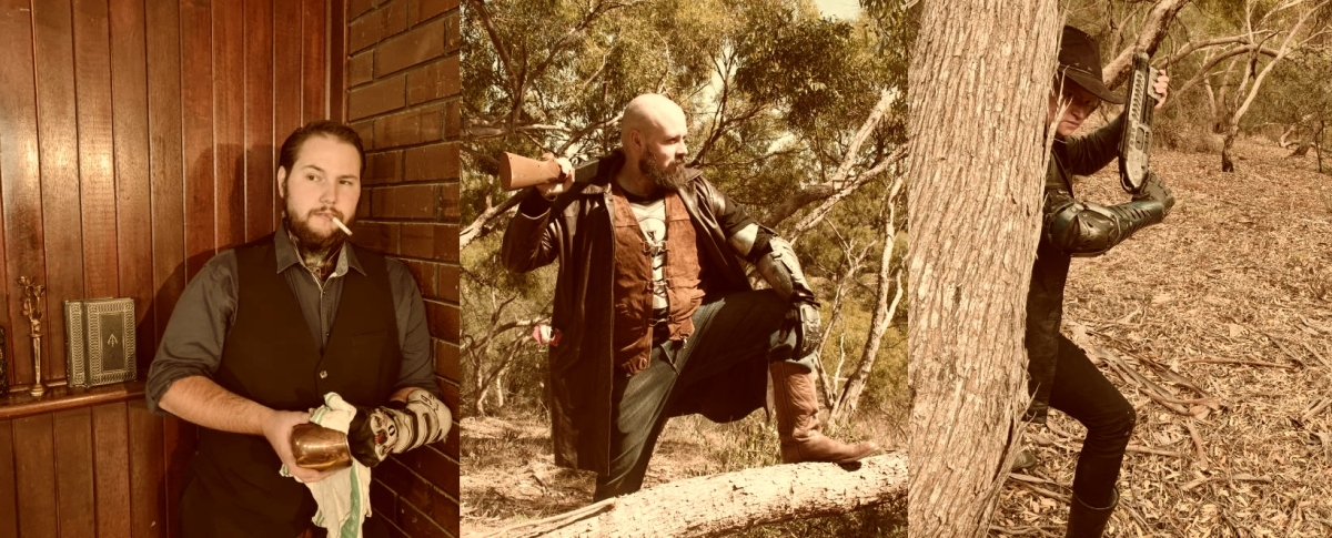 Three photographs of three men in Wild West / Science Fiction fusion costuming and sepia tones.